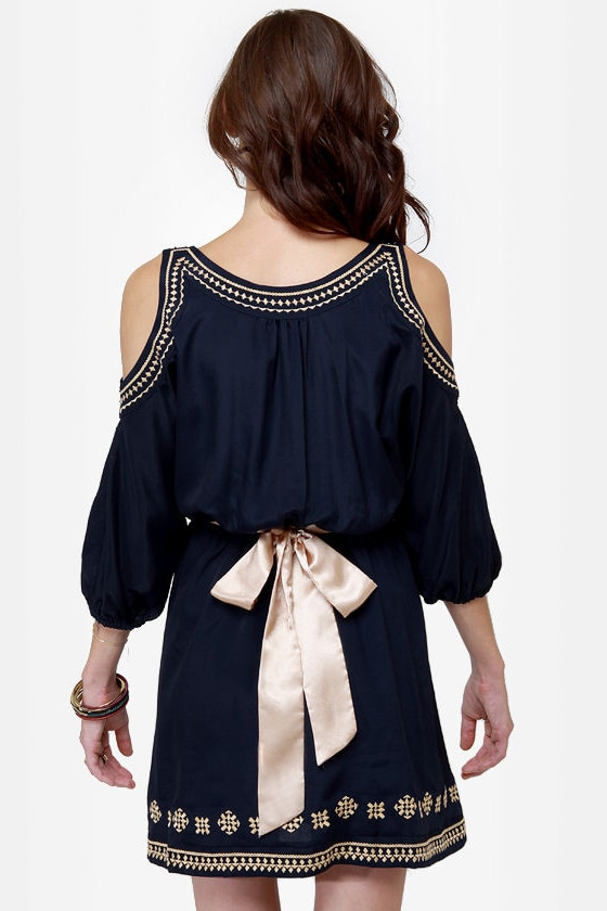 Greek Squad Embroidered Navy Blue Dress