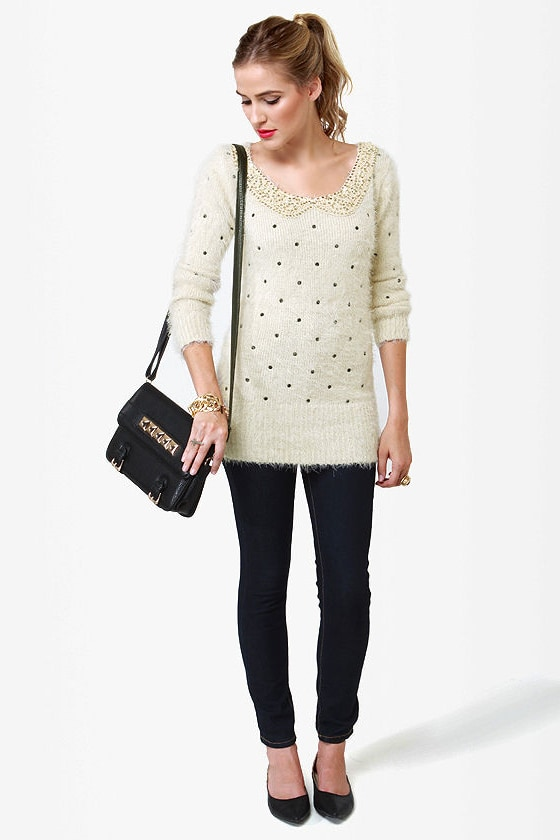 Fuzzy Dice Ivory Sequin Sweater