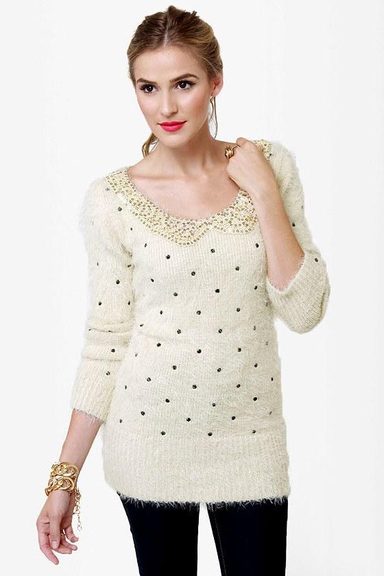 Fuzzy Dice Ivory Sequin Sweater