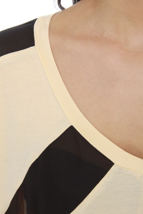 Beyond Lucid Cream Striped Top
