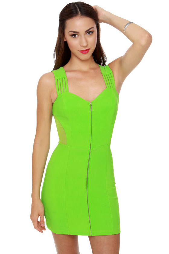 Fun Zip Lime Green Dress at Lulus.com!