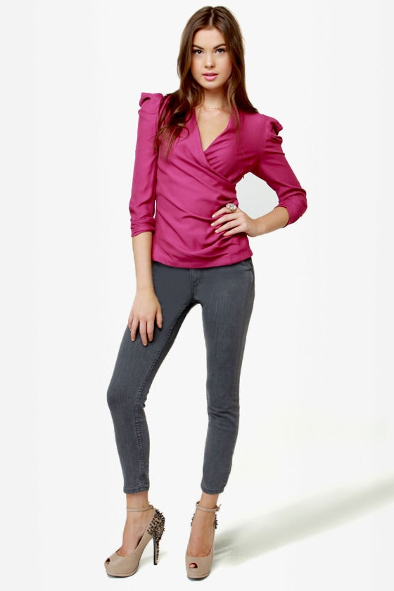 Baby, You\\\\\\\\\\\\\\\'re a Ruched Ma\\\\\\\\\\\\\\\'am Magenta Top