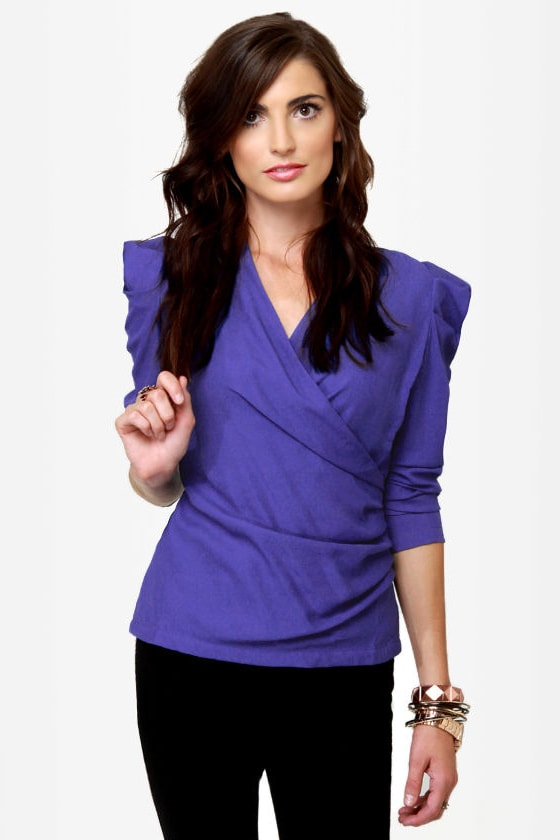 Baby, You're a Ruched Ma'am Indigo Blue Top at Lulus.com!