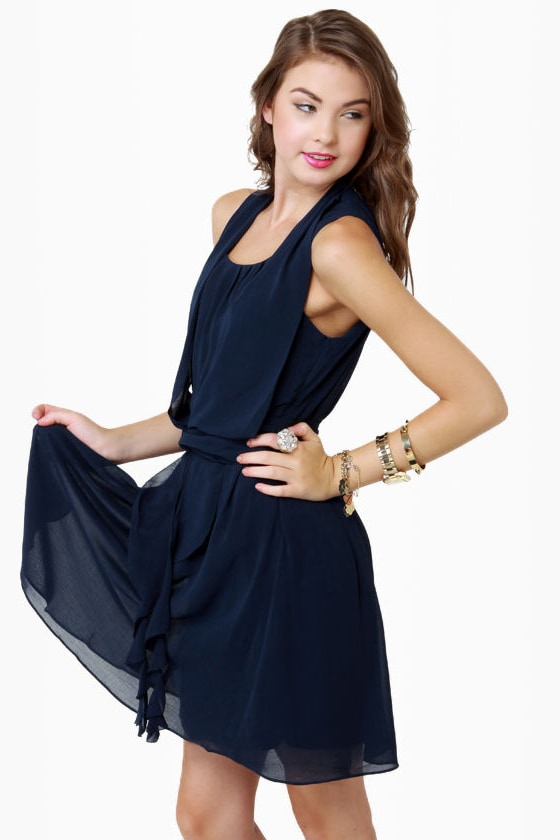 THML Drape-fruit Juice Navy Blue Dress
