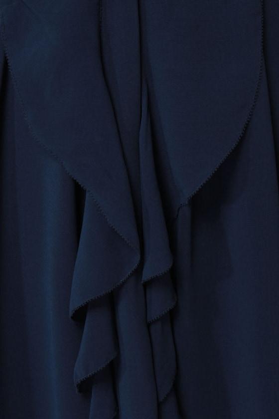 THML Drape-fruit Juice Navy Blue Dress at Lulus.com!