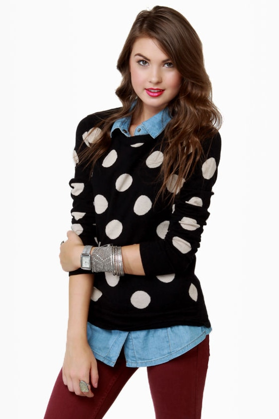 THML On the Dotted Line Polka Dot Sweater