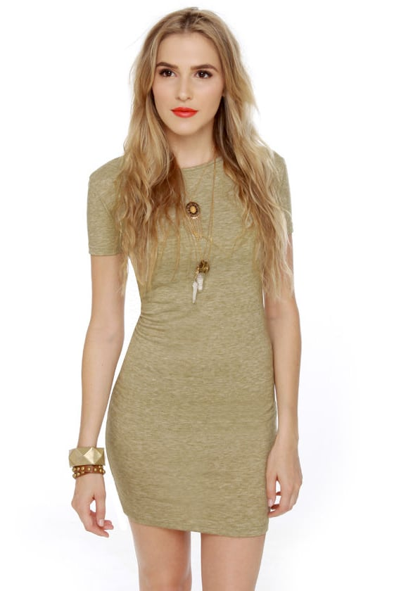 Photogenic Short Sleeve Olive Green Dress