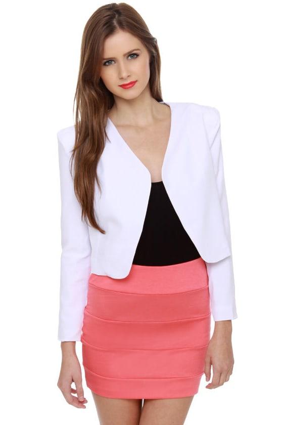 Sexy White Blazer - Cropped Blazer - Structured Blazer - $41.00