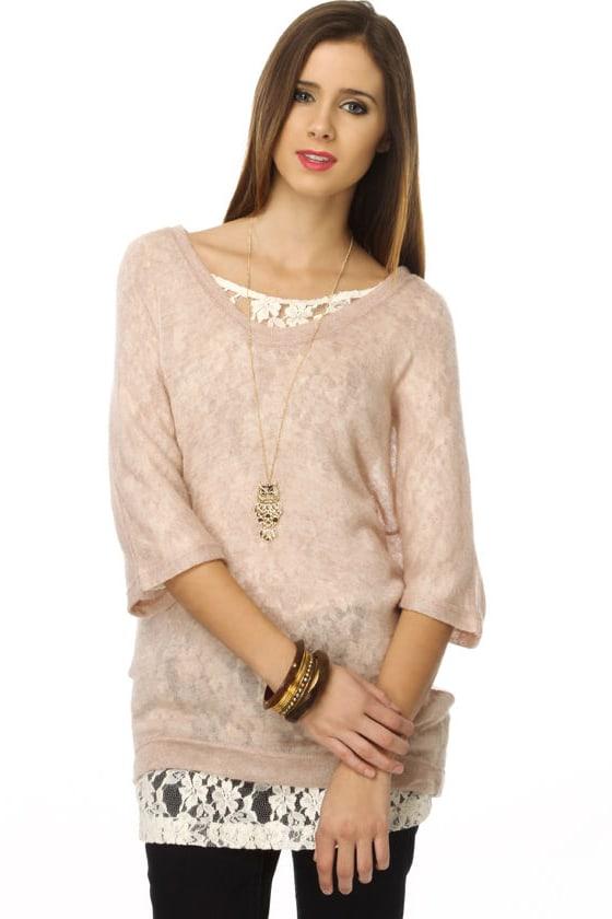 Warm Whispers Tan Sweater Top