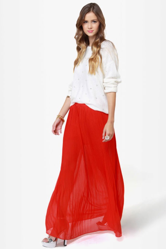 Flowy Orange Skirt - Maxi Skirt - Pleated Skirt - $39.00