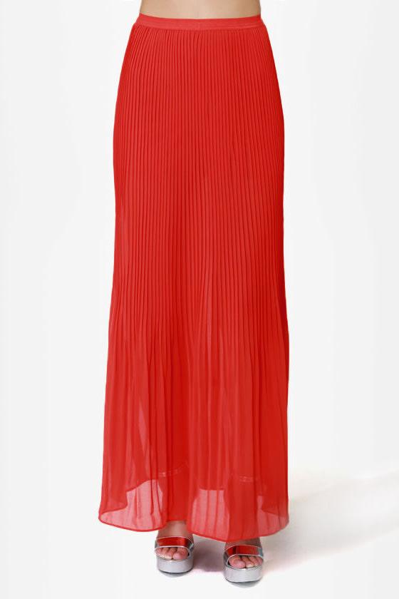 flowy orange skirt maxi skirt pleated skirt 39 00