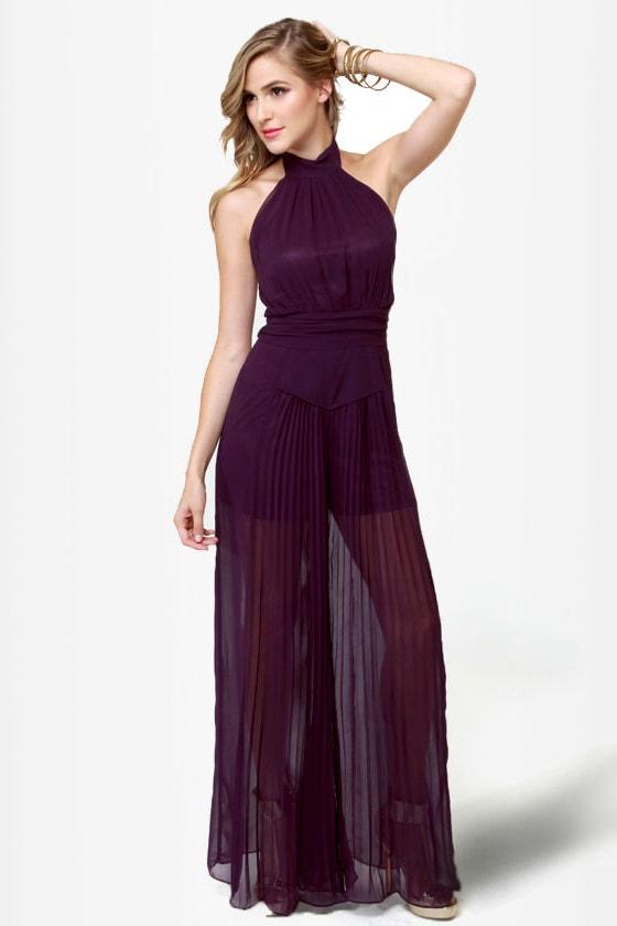 Break It Down Backless Purple Jumpsuit
