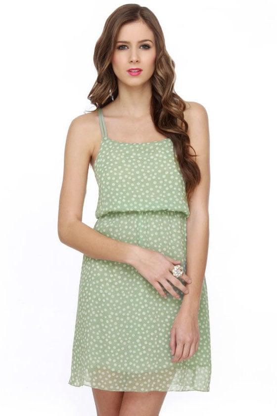 Poke Salad Mint Green Polka Dot Dress