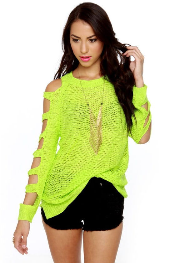 a4073711ef7cb Cute Neon Green Sweater - Cold Shoulder Top -  58.00