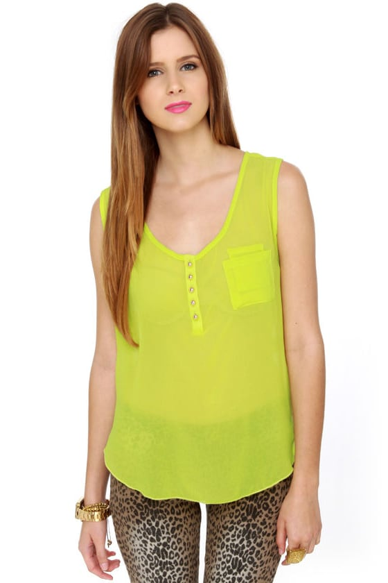 Hot Neon Tank Top Chartreuse Tank