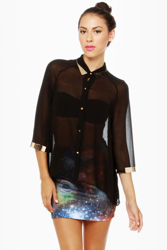 Metal Detector Black Button-Up Top