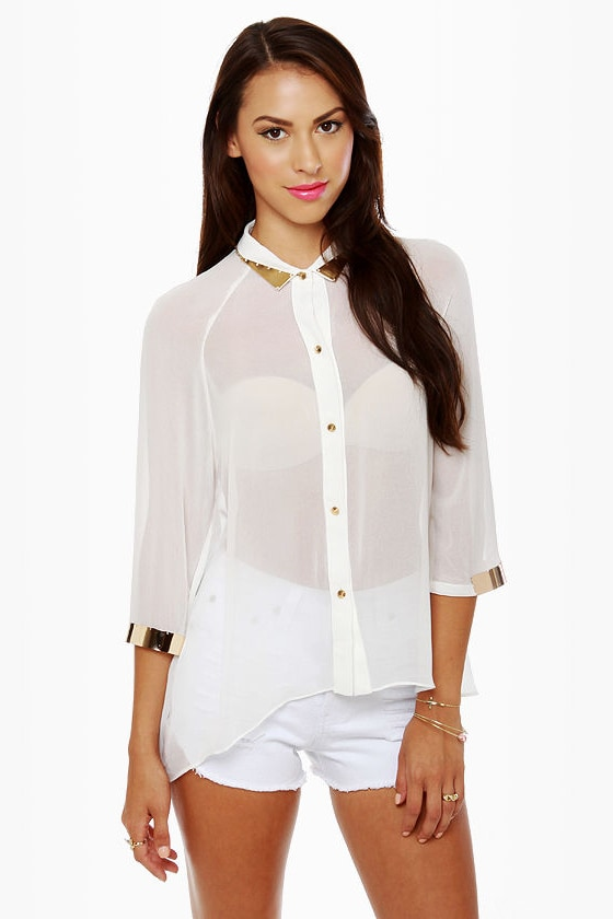 Metal Detector White Button-Up Top at Lulus.com!
