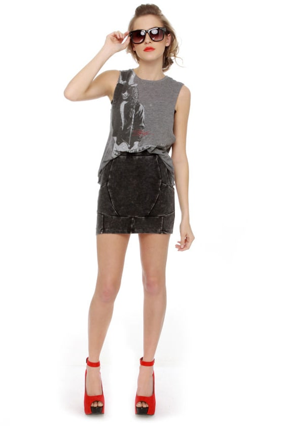 Street Cred Washed Grey Mini Skirt