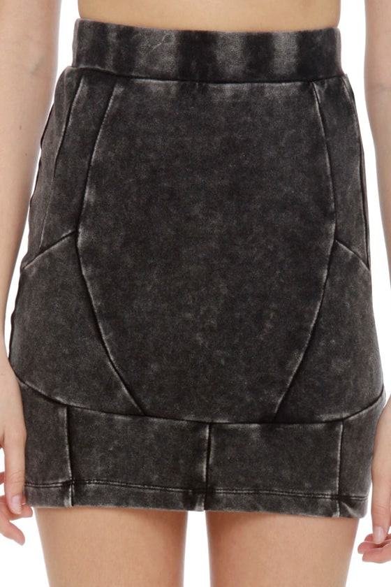 Street Cred Washed Grey Mini Skirt at Lulus.com!
