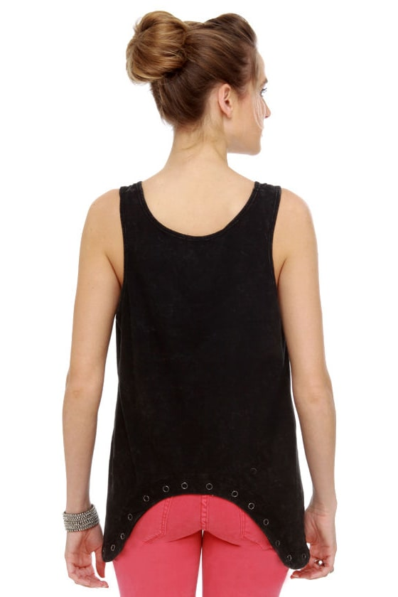 Oh Snap! Washed Black Tank Top