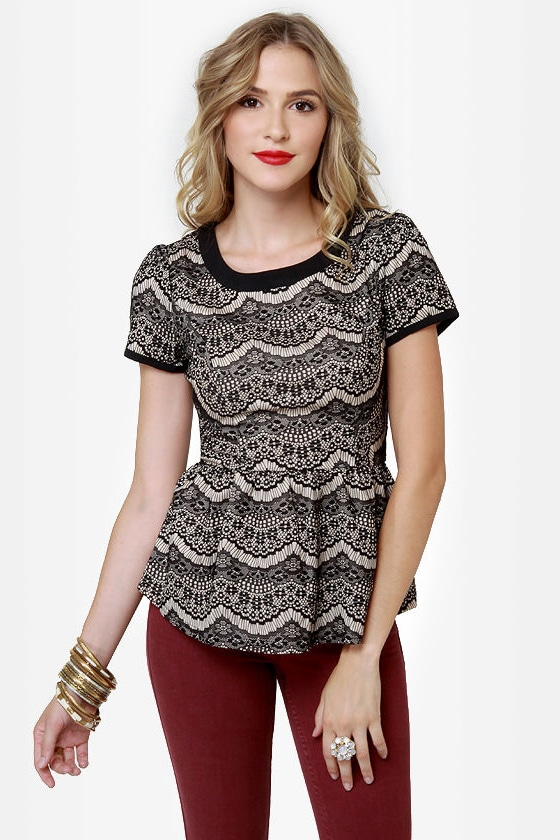 Always Charming Lace Peplum Top at Lulus.com!
