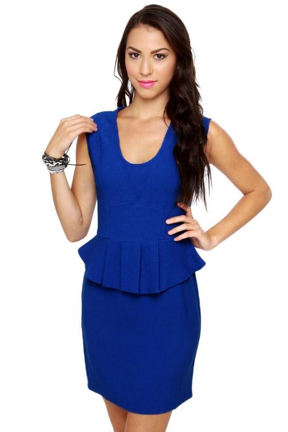 Cute Blue Dress Peplum Dress Royal Blue Dress 53 00