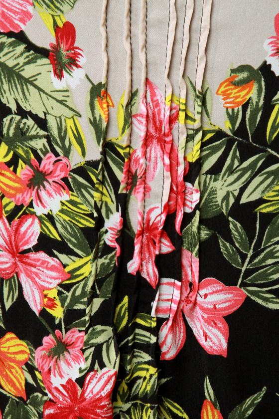 Ticket to Paradise Floral Print Kimono Dress