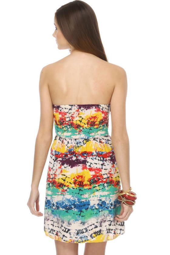 Volcom Evo Tie-Dye Strapless Dress