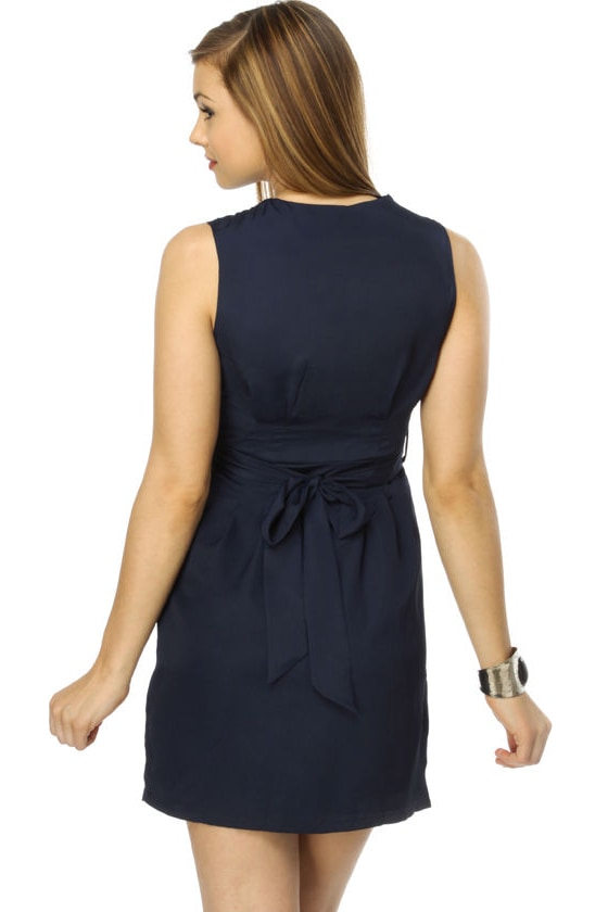 Hibiscus Melody Navy Blue Dress