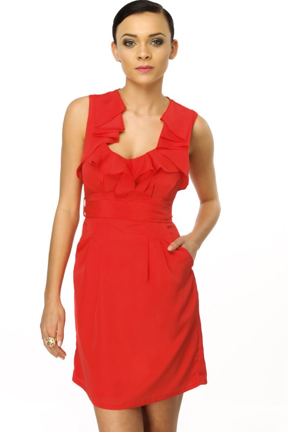 Hibiscus Melody Red Dress