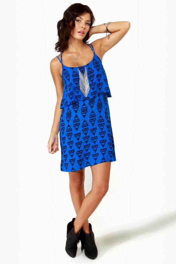 Volcom Mag Pie Blue Print Dress