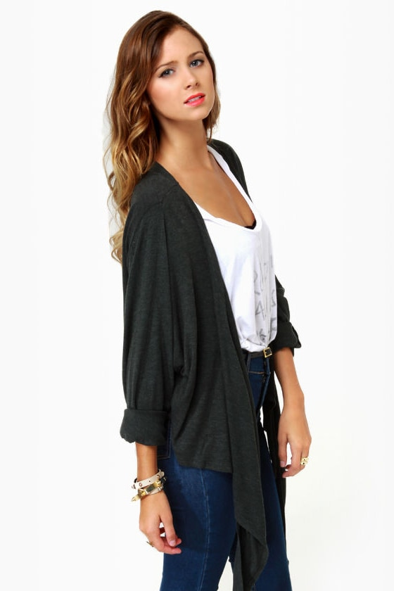 Volcom Autumn Spice Kimono Charcoal Grey Wrap Sweater at Lulus.com!