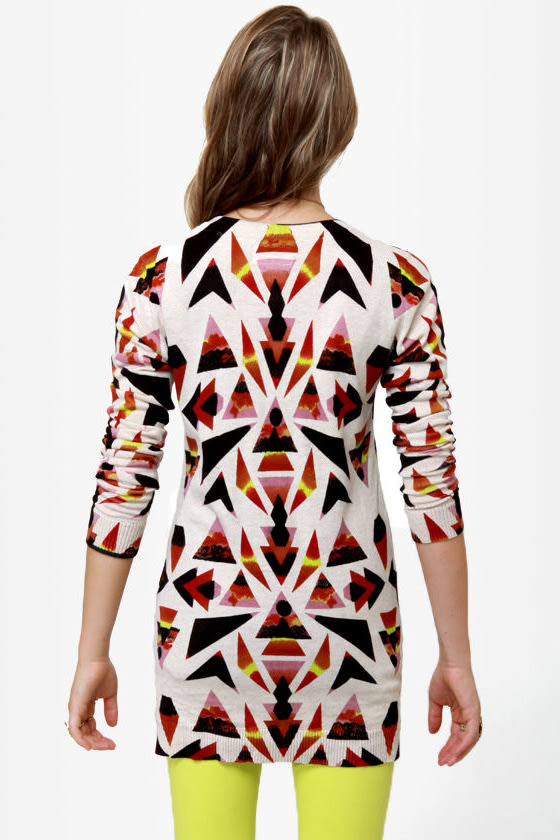 Volcom V.Co Loves Beige Print Cardigan Sweater