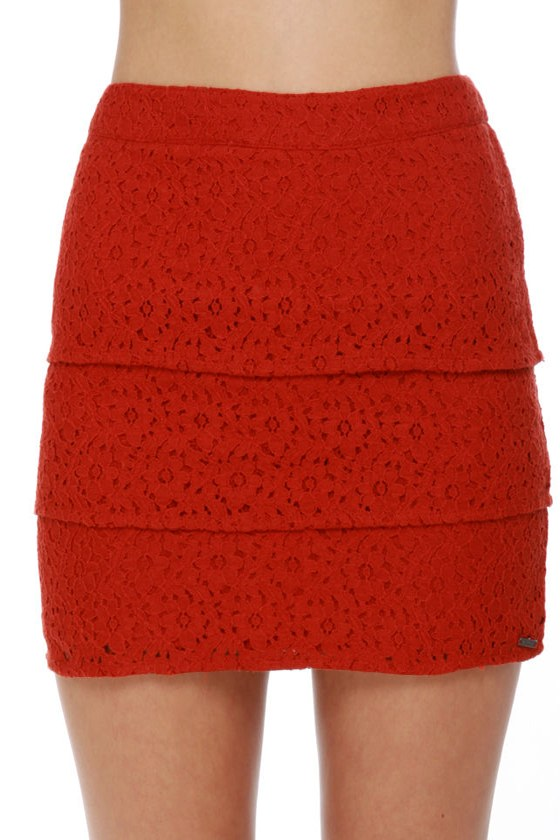 Volcom Frochikie Laced Rust Red Mini Skirt at Lulus.com!