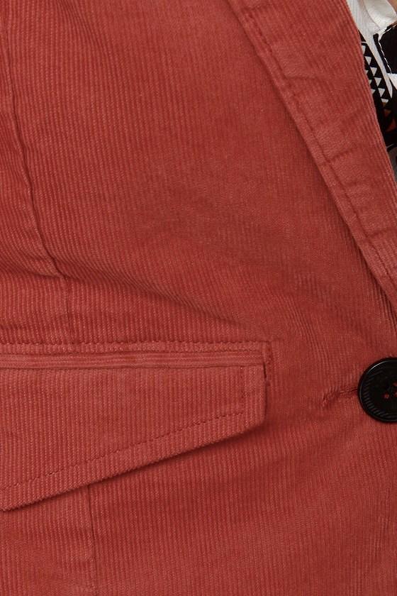 Volcom Zip It Rust Red Corduroy Blazer
