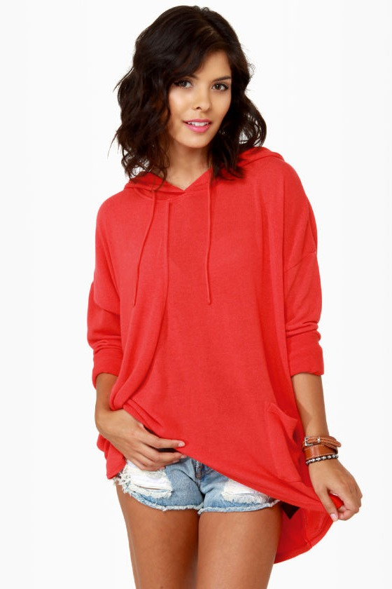 Volcom Voices Carry Hooded Coral Red Sweater