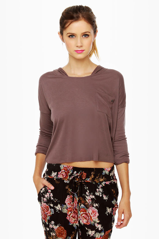 Volcom My Favorite Cropped Hoody Brown Top