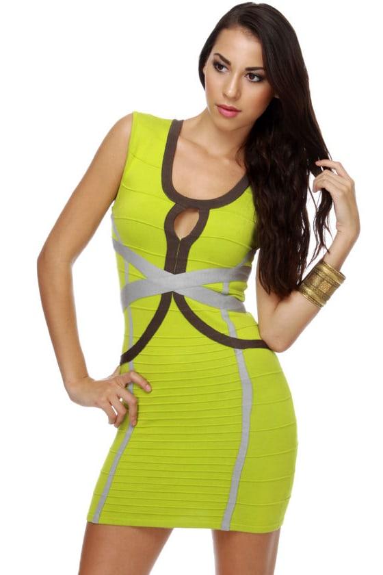 Bright yellow bandage dress