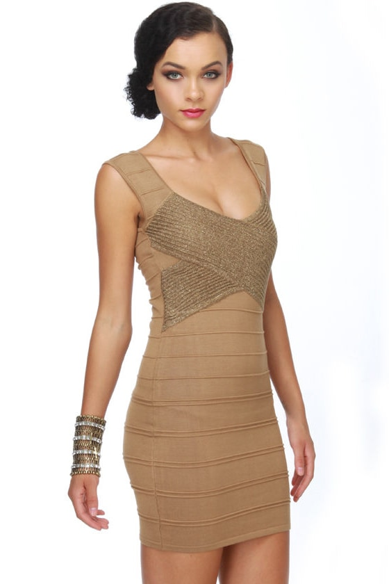 Disc-Au Glitter Gold Dress at Lulus.com!