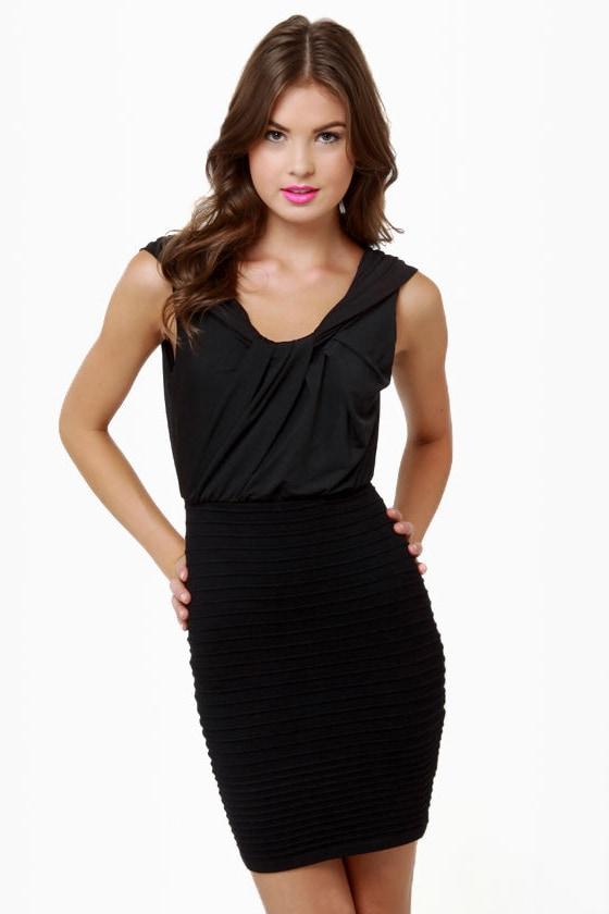 Drape Me a Line Black Dress