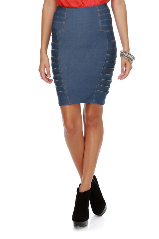 Chipper Zipper Denim Skirt