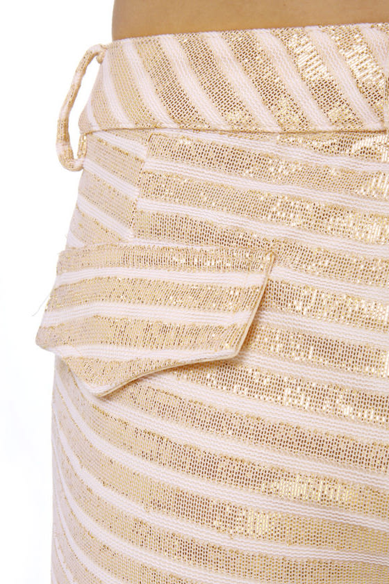 Gild-y as Charged Striped Gold Shorts