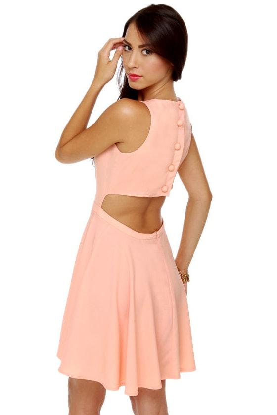 Take Me Back Cutout Peach Dress