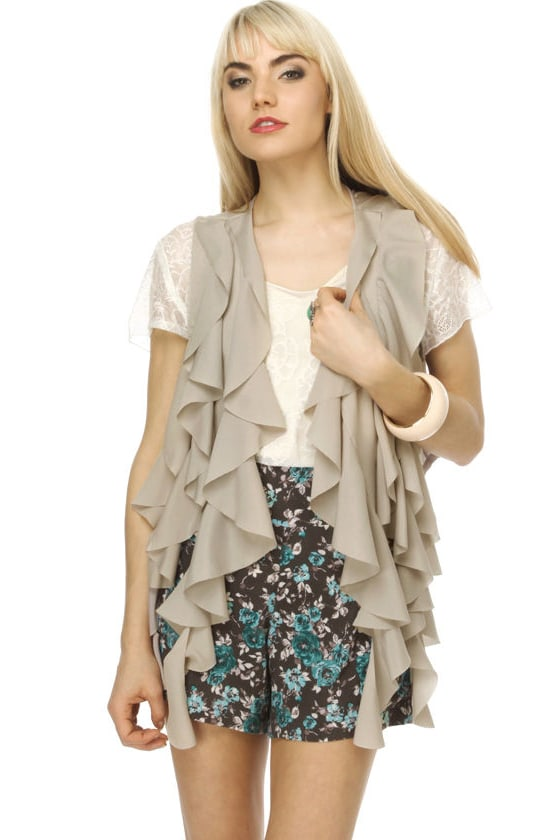 Froth On Top Taupe Ruffle Vest