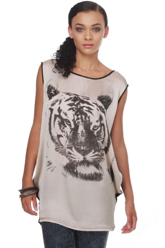 Le Tigre Black and Taupe Print Tunic