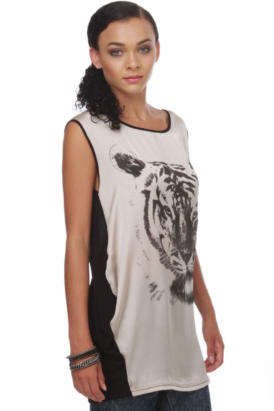 Le Tigre Black and Taupe Print Tunic