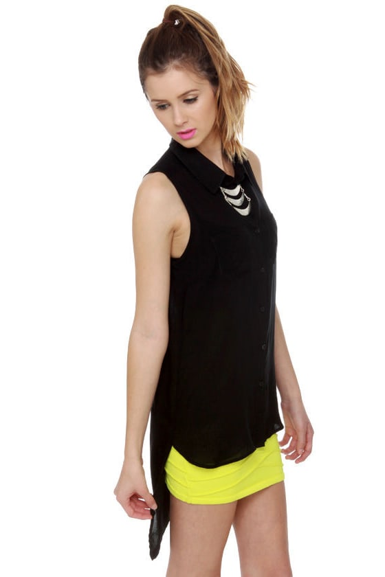 Why High-Low There Black Tank Top at Lulus.com!