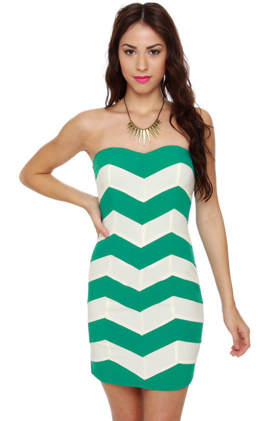 Chevron Cloud Nine Strapless Teal Dress at Lulus.com!