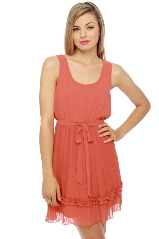 b37e279df03 Darling Burnt Orange Dress - Ruffle Dress -  45.00