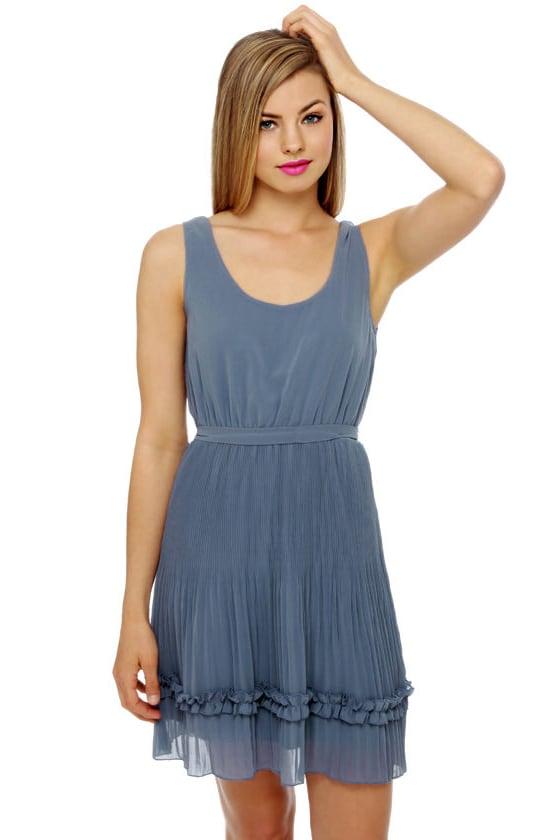 Darling Slate Blue Dress - Ruffle Dress - $45.00